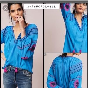 Anthropologie Maeve peasant embroidered blouse